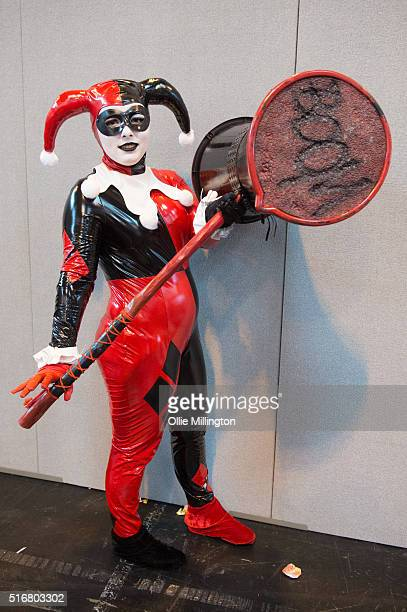 Cosplay enthusiasts attending as the DC comics character Harley Quinn of the Suicide Squad on the 2nd day of Comic Con 2016> on March 20 2016 in...