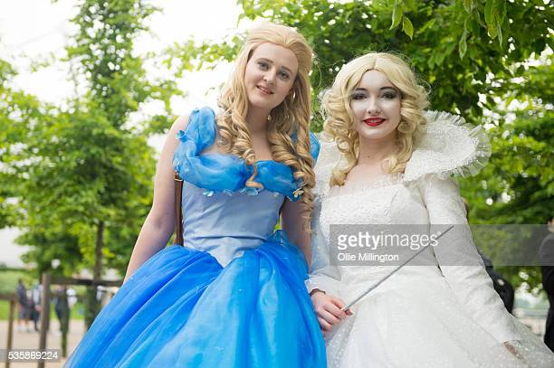 Cosplay enthusiasts dressed as Disney Princesses on Day 2 of MCM London Comic Con at The London ExCel on May 28 2016 in London England