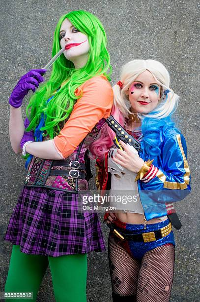 Cosplay enthusiasts dressed as Harley Quinn and The Joker on Day 2 of MCM London Comic Con at The London ExCel on May 28 2016 in London England