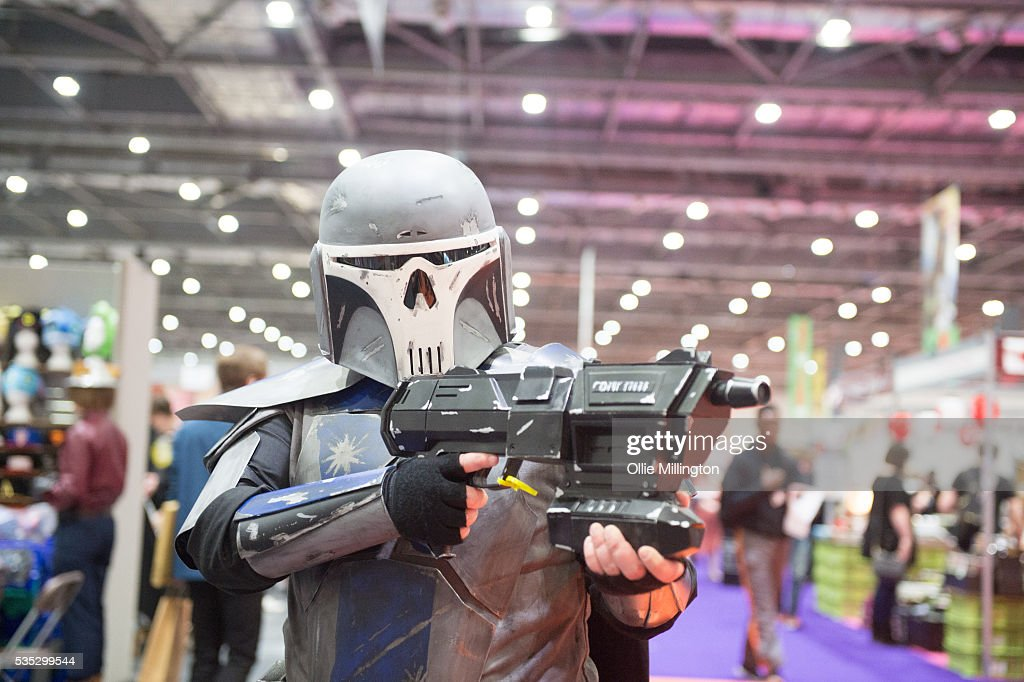 A Cosplay enthusiasts in character as Boba Fett from Star Wars on Day 1 of MCM London Comic Con at The London ExCel on May 27, 2016 in London, England.
