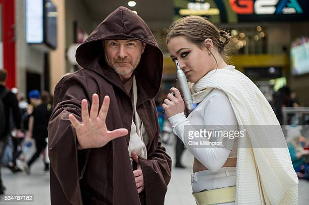 Cosplay enthusiasts in character as Obi Wan Kenobi and Padme Amidala from Star Wars on Day 1 of MCM London Comic Con at The London ExCel on May 27...