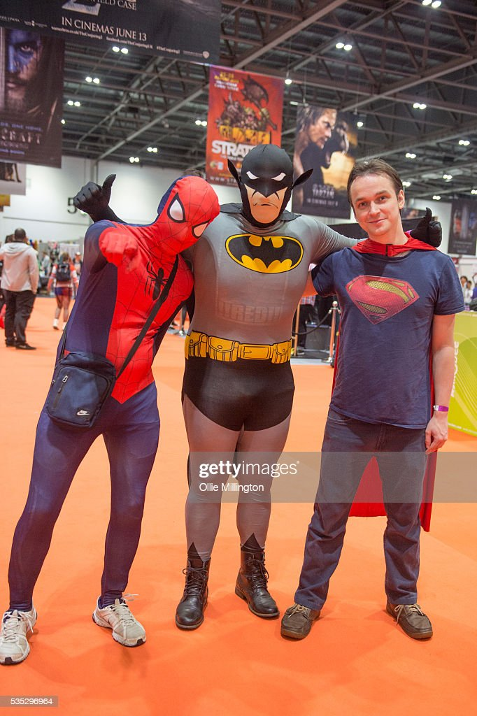 A Cosplay enthusiasts in character as Spider-Man, Batman and Superman on Day 1 of MCM London Comic Con at The London ExCel on May 27, 2016 in London, England.