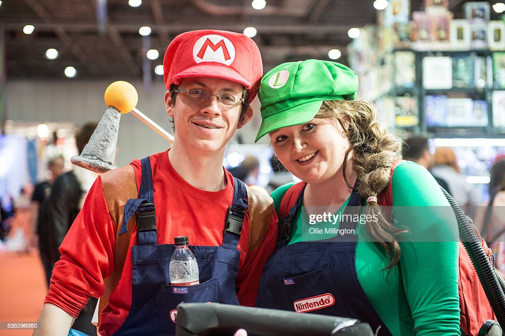 Cosplay enthusiasts in costume as the Super Mario Brothers on Day 1 of MCM London Comic Con at The London ExCel on May 27, 2016 in London, England.