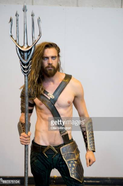 Cosplay guest Robin Yardley King Tide Cosplay in character as Dawn of Justice Aquaman at The Birmingham Film and Comic Con Collectormaina 24 at NEC...