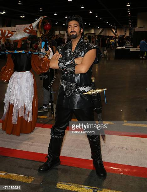 Cosplay model and costume designer Lance Jaze dressed as the character Ares from the 'Xena Warrior Princess' television show attends Wizard World...