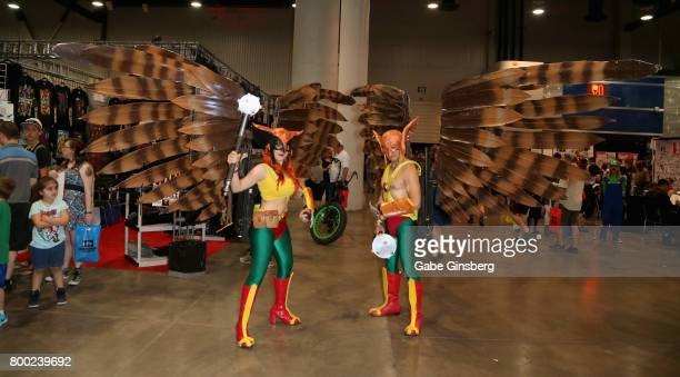 Cosplay models Julia Moreno Jenkins dressed as the character Hawkwoman and Andy Holt dressed as the character Hawkman from the 'Hawkman' comic book...