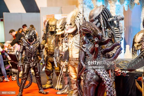Cosplay Zenomorphs and Predators during the MCM Birmingham Comic Con at NEC Arena on March 19 2017 in Birmingham England