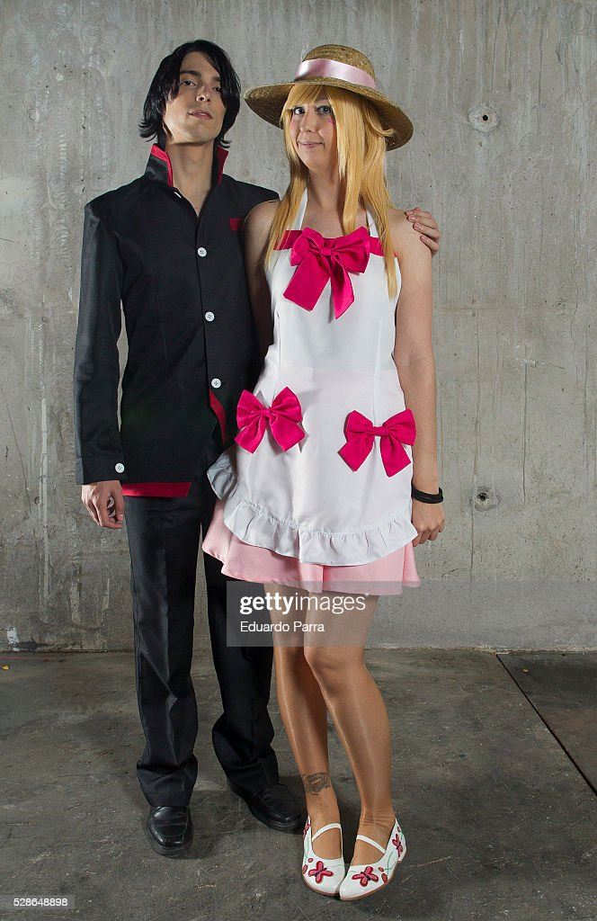 Cosplayer @albi_pink (R) characterized as the Araragi character of the novel 'Monogatari', attends the fair Expomanga at IFEMA on May 06, 2016 in Madrid, Spain .