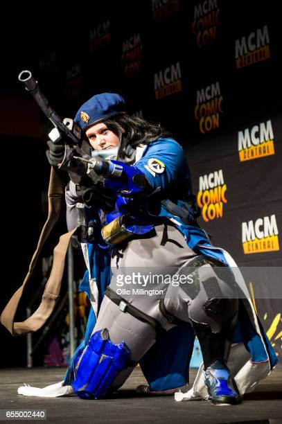 A cosplayer as an Overwatch character during the MCM Birmingham Comic Con at NEC Arena on March 18 2017 in Birmingham England