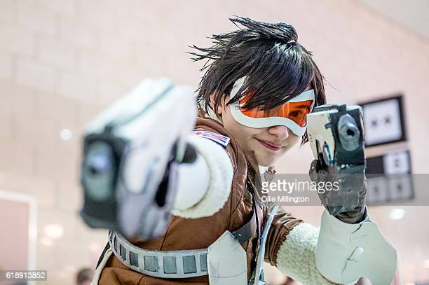 A cosplayer as an Overwatch character on day 1 of the MCM London Comic Con at ExCel on October 28 2016 in London England