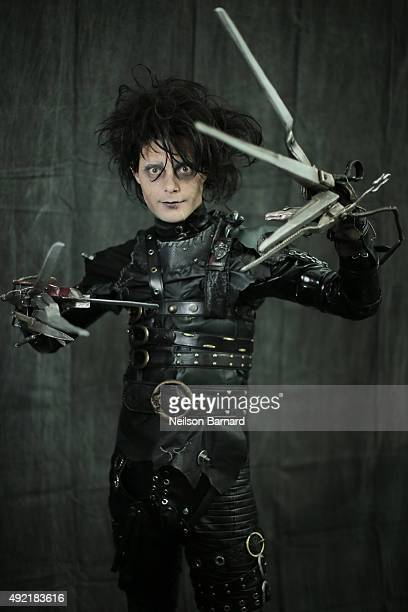 A cosplayer as Edward Scissorhands during the New York Comic Con 2015 at The Jacob K Javits Convention Center on October 10 2015 in New York City New...