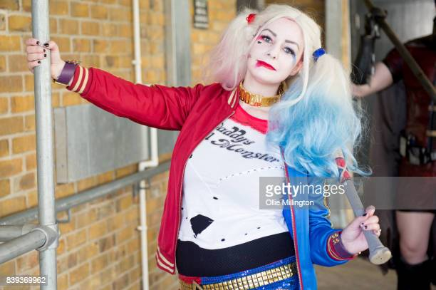 A cosplayer as Harley Quinn during Day 1 of the London Super Comic Con at Business Design Centre on August 25 2017 in London England
