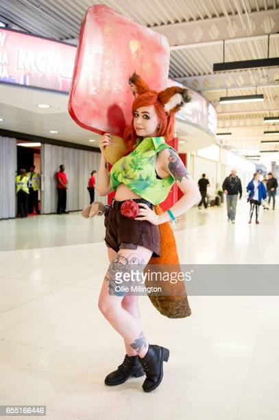 A cosplayer as Nick Wilde from Zootopia during the MCM Birmingham Comic Con at NEC Arena on March 19 2017 in Birmingham England