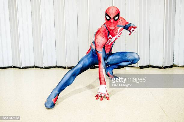 A cosplayer as Spiderman during the MCM Birmingham Comic Con at NEC Arena on March 18 2017 in Birmingham England