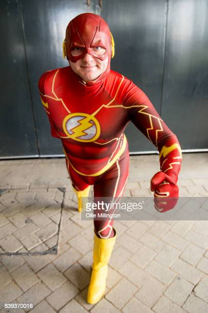 A cosplayer as The Flash during Day 1 of the London Super Comic Con at Business Design Centre on August 25 2017 in London England