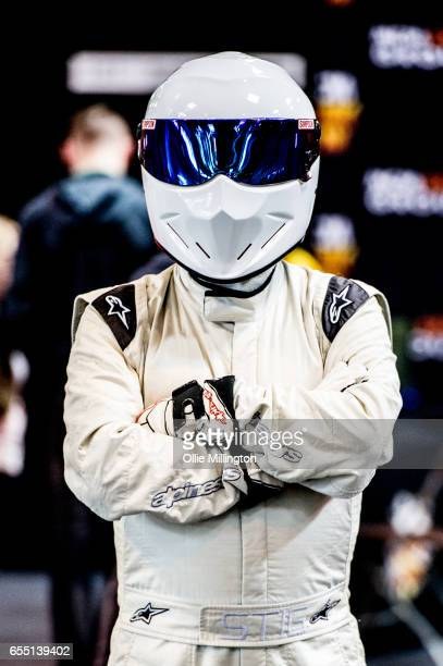 A cosplayer as The Stig from Top Gear during the MCM Birmingham Comic Con at NEC Arena on March 19 2017 in Birmingham England