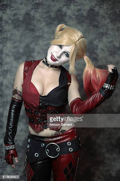 Cosplayer Autumn Sharrar as Harley Quinn from BatmanArkham City backstage before being judged for the NYCC Eastern Championships of Cosplay during...