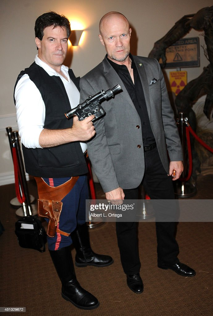 Cosplayer Brian Sikoff and actor <a gi-track='captionPersonalityLinkClicked' href=/galleries/search?phrase=Michael+Rooker&family=editorial&specificpeople=640228 ng-click='$event.stopPropagation()'>Michael Rooker</a> attend the After Party for the 40th Annual Saturn Awards held at on June 26, 2014 in Burbank, California.