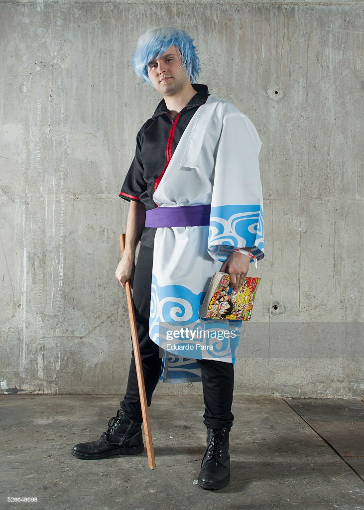 A cosplayer characterized as the Gintoki character of the comic Gintama attends the fair Expomanga at IFEMA on May 06, 2016 in Madrid, Spain .