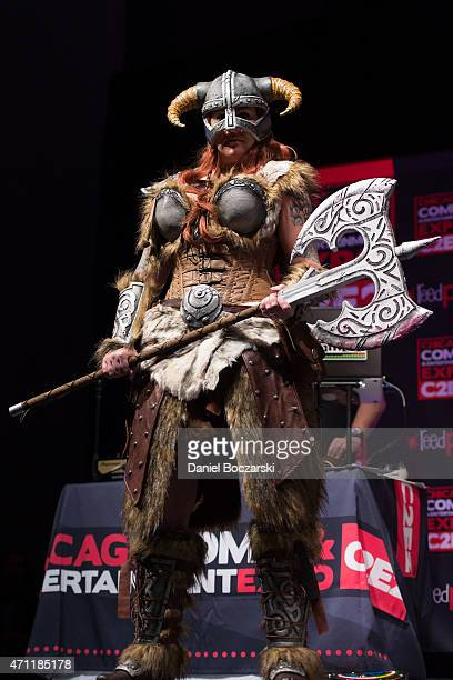 A cosplayer competes in the C2E2 Crown Championships of Cosplay during Chicago Comic and Entertainment Expo at McCormick Place on April 25 2015 in...