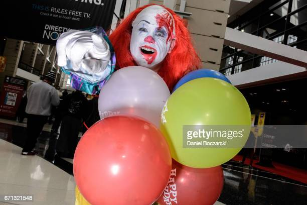 A cosplayer cosplays as Pennywise the Clown from It during the 2017 C2E2 Comic and Entertainment Expo at McCormick Place on April 21 2017 in Chicago...