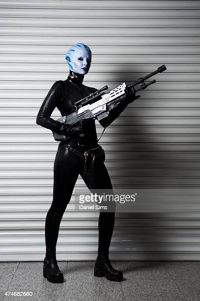 Cosplayer dressed as a character from video game 'Mass Effect' attending the MCM Comic Con at ExCel convention centre in London England on May 23 2015