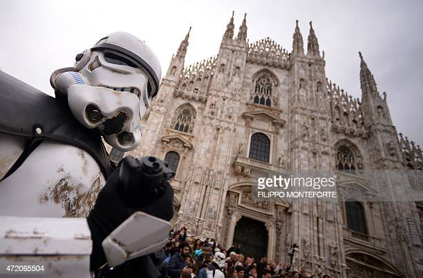 A cosplayer dressed as a 'Star Wars' stormtrooper stands in front of Milan's Duomo on May 3 2015 as part of Star Wars Day AFP PHOTO / FILIPPO...