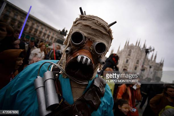 A cosplayer dressed as a 'Star Wars' Tusken attends a Star Wars Day event in Milan on May 3 2015 AFP PHOTO / FILIPPO MONTEFORTE