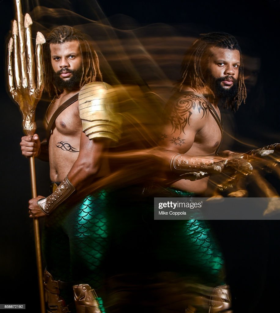 A cosplayer dressed as Aquaman at the 2017 New York Comic Con - Day 3 on October 7, 2017 in New York City.