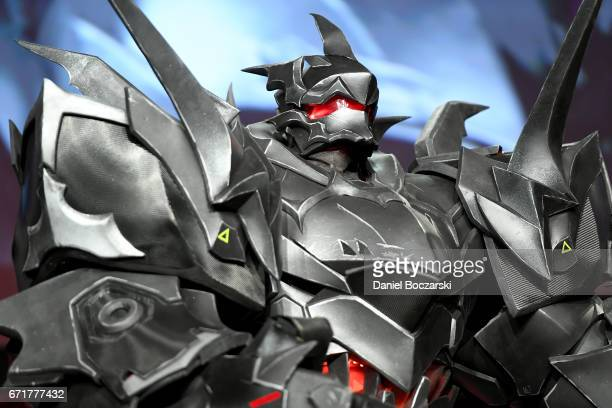 A cosplayer dressed as Blackhardt from 'Overwatch' attends the C2E2 Crown Champions of Cosplay at McCormick Place on April 22 2017 in Chicago Illinois