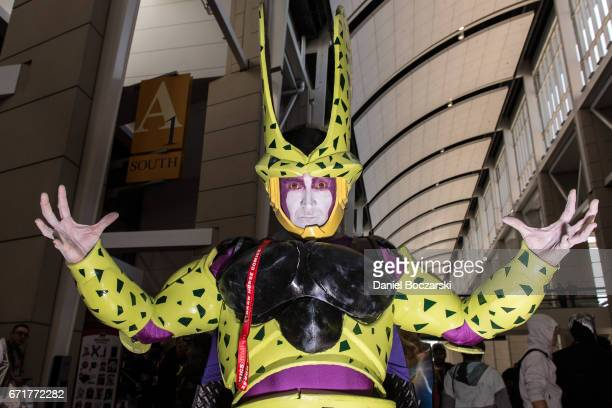 A cosplayer dressed as Cell from 'Dragon Ball Z' attends C2E2 Chicago Comic and Entertainment Expo McCormick Place on April 22 2017 in Chicago...