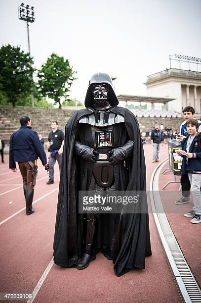 A cosplayer dressed as Darth Vader attends the Star Wars Day on May 3 2015 in Milan Italy
