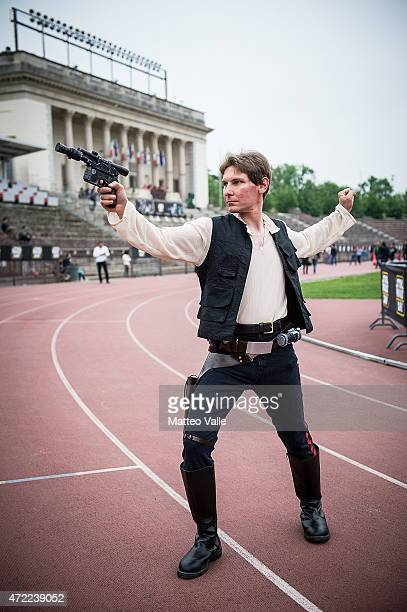 A cosplayer dressed as Han Solo attends the Star Wars Day on May 3 2015 in Milan Italy