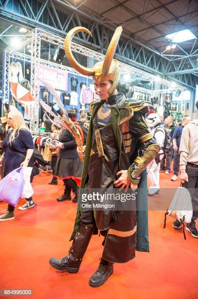 A cosplayer dressed as Loki from Thor during the MCM Birmingham Comic Con at NEC Arena on March 18 2017 in Birmingham England