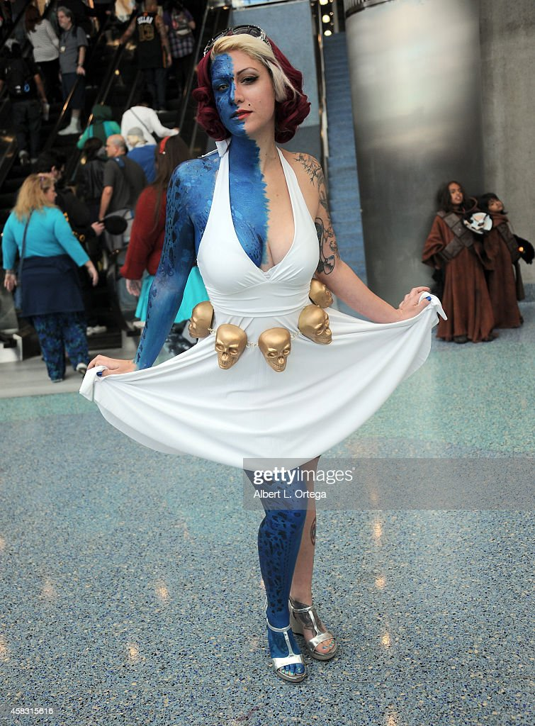 Cosplayer dressed as Mystique/Marilyn Monroe attends Day 3 of the Third Annual Stan Lee's Comikaze Expo held at Los Angeles Convention Center on November 2, 2014 in Los Angeles, California.