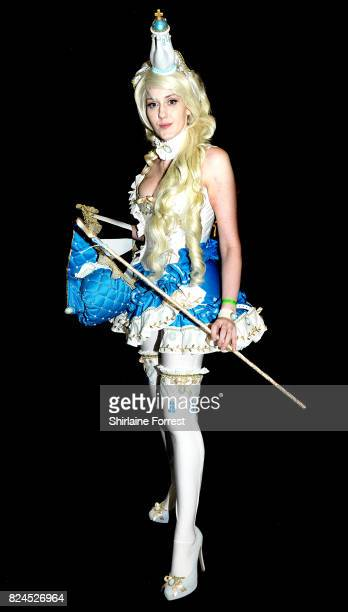 A cosplayer dressed as Royal Milk Tea of the Tea Time artbook by Artist Sakizo attends MCM Comic Con at Manchester Central on July 30 2017 in...