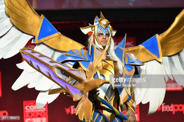 A cosplayer dressed as Skywrath Mage from Dota 2 attends the C2E2 Crown Champions of Cosplay at McCormick Place on April 22 2017 in Chicago Illinois