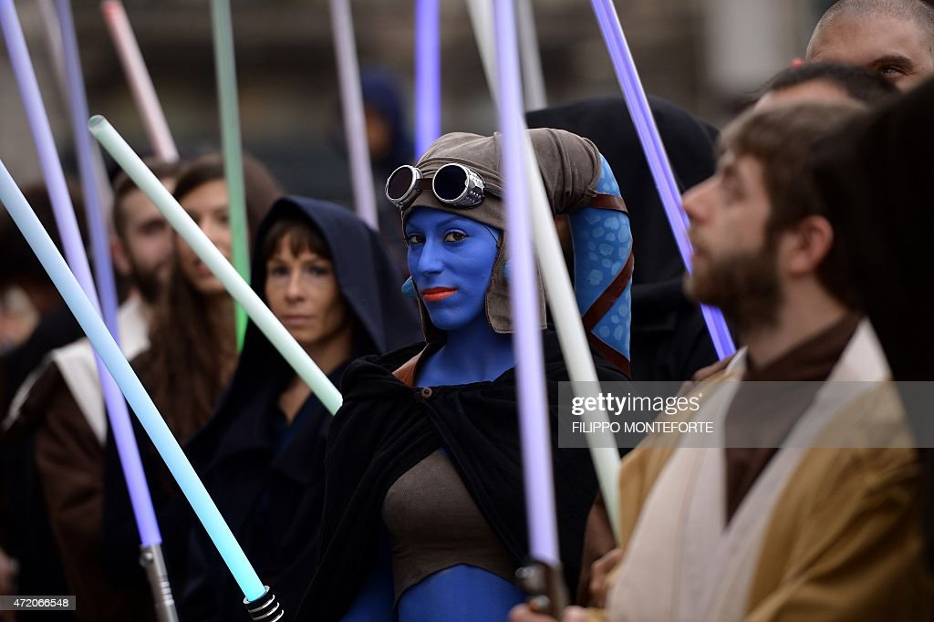 A cosplayer dressed as 'Star Wars' character Aayla Secura attends a Star Wars Day event in Milan on May 3 2015 AFP PHOTO / FILIPPO MONTEFORTE