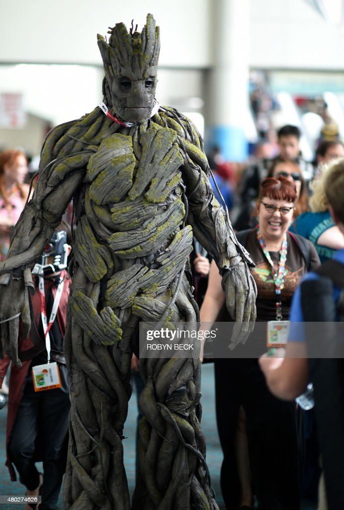 A cosplayer dressed as the character Groat from the movie Guardians of the Galaxy attends the second day of Comic Con International 2015 in San Diego...