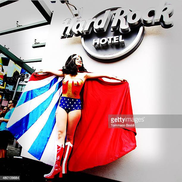 A cosplayer dressed as Wonder Woman attends ComicCon International 2015 on July 9 2015 in San Diego California