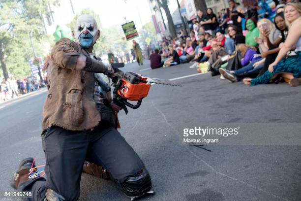 Cosplayer dressed in their favorite character attend the 2017 DragonCon Parade on September 2 2017 in Atlanta Georgia DragonCon is a multimedia...