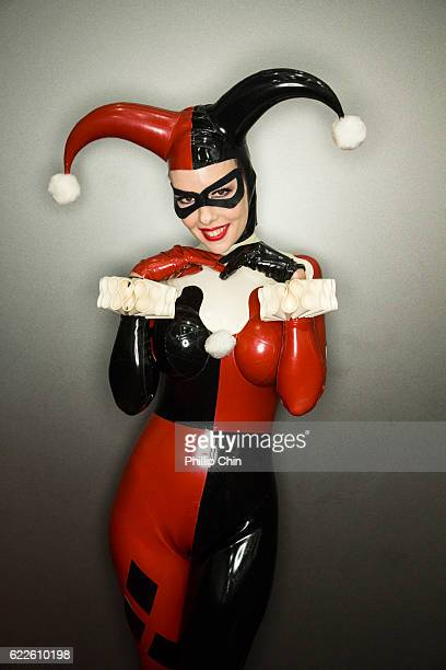 Cosplayer Evelyn13 aka Harley Quinn poses at Fan Expo Vancouver 2016 at the Vancouver Convention Centre on November 11 2016 in Vancouver Canada