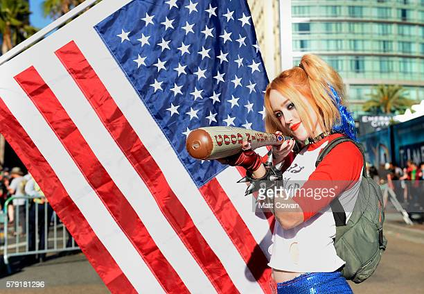 Cosplayer Harley Quinn attends ComicCon International on July 22 2016 in San Diego California