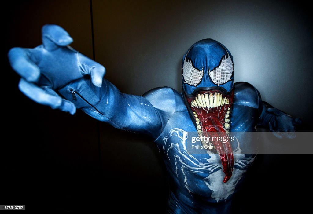 Cosplayer Imnotbradpitt aka Venom attends Fan Expo Vancouver at Vancouver Convention Centre on November 12, 2017 in Vancouver, Canada.