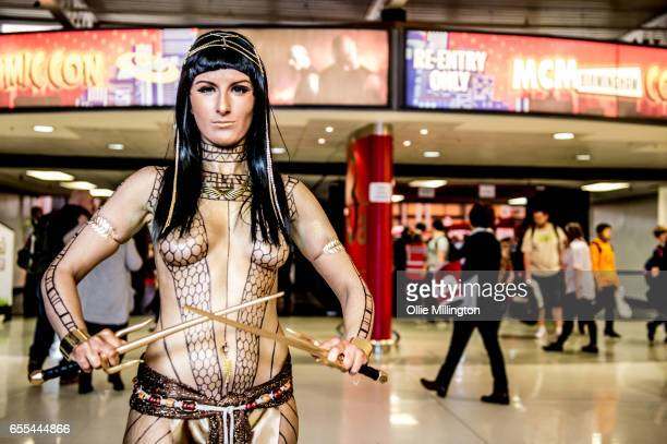 A cosplayer in character as Ancksunamun the Pharaoh's mistress from The Mummy during the MCM Birmingham Comic Con at NEC Arena on March 19 2017 in...