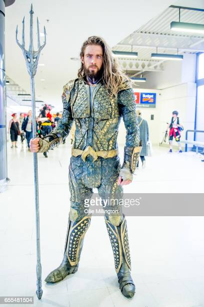 A cosplayer in character as Aqua Man during the MCM Birmingham Comic Con at NEC Arena on March 19 2017 in Birmingham England
