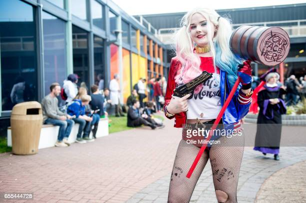 A cosplayer in character as Harley Quinn during the MCM Birmingham Comic Con at NEC Arena on March 19 2017 in Birmingham England