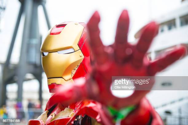 A Cosplayer in character as Iron Man from Avengers during day 3 of the MCM London Comic Con 2017 held at the ExCel on October 28 2017 in London...