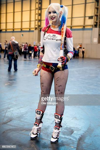 A cosplayer in character as Suicide Squad Harley Quinn Art Online at The Birmingham Film and Comic Con Collectormaina 24 at NEC Arena on June 4 2017...