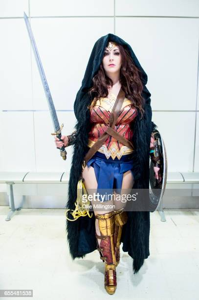 A cosplayer in character as Wonder Woman during the MCM Birmingham Comic Con at NEC Arena on March 19 2017 in Birmingham England